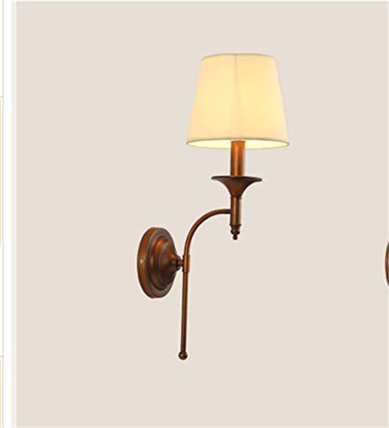 Dekorationinnenbeleuchtungbeleuchtungspotleuchtenleuchtensystemeamerican Wall Lamp Iron Art Living Room Corridor Concise Retro Bedroom Bedside Lamp Wall Lamp Größe  18  55