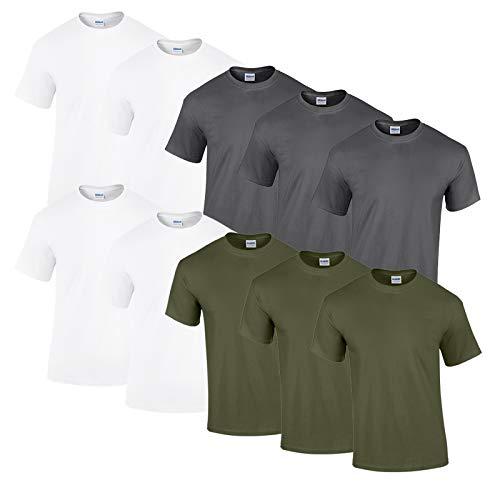 Gildan 10 T Shirts Heavy Cotton M L XL XXL Diverse Farben auswählbar (4XL, 4Weiss/3MilitaryGreen/3Anthrazit)