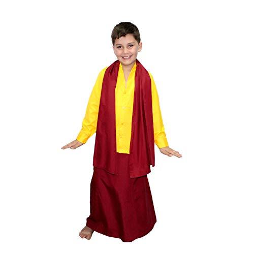 Kaku Fancy Dresses Buddha Fancy Dress Costume/Shaolin Costume for Kids/Tibetan Monk Costume -Yellow, 7-8 Years, for Boys