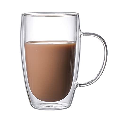 MOOVGTP Juego de 2 tazas de café de cristal, 450 ml (15 onzas) de doble pared, tazas de café aisladas con mango de vidrio para cacao, leche, café, latte, cereales, helados