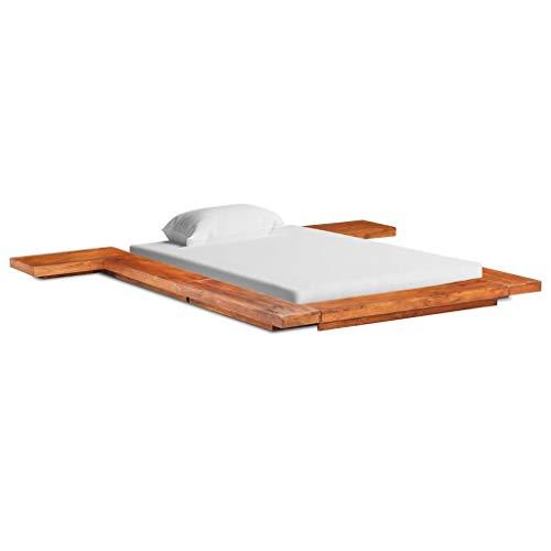 vidaXL Akazienholz Massiv Futonbett Japanisch Holzbett Bett Einzelbett Ehebett Bettgestell Bettrahmen Massivholzbett Schlafzimmerbett 90x200cm