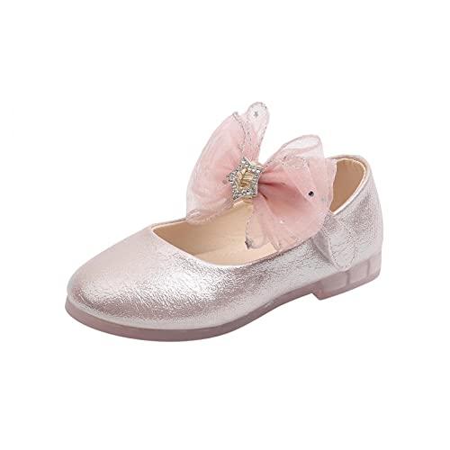 YQSR Zapatillas de danza para niña, zapatos de princesa, zapatos de piel, sandalias de flores, zapatos planos LED, luces de maríaco, antideslizantes