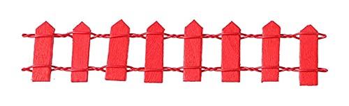 LIXBD Miniatur-Feengartenzaun-Ornament, Holzlattenzaun, Mikro-Landschaft, Dekoration für DIY Handwerk, Puppenhaus, Haus, Garten, Blumentopf, Diorama-Projekt (Farbe: Rot)