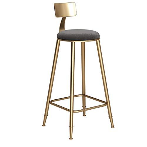 YLCJ barkruk, voetensteun, met rugleuning van badstof, voor eetkamer, keuken, barkruk, barkruk, max. Draaglast 150 kg, voeten van metaal, goudkleurig, zithoogte: 85 cm. grijs.