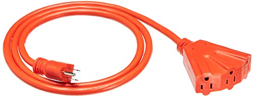 Amazon Basics 12/3 Outdoor Extension Cord with 3 Outlets, Orange, 6 Foot