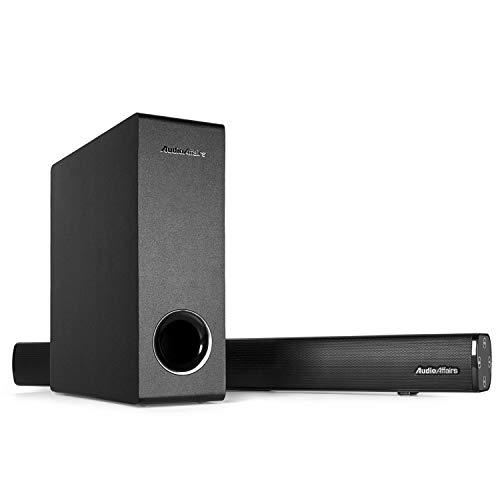 AudioAffairs TV Soundbar e Subwoofer, HDMI ARC, 2.1 Sound System home cinema con 60 Watt, 4.2 Bluetooth, telecomando
