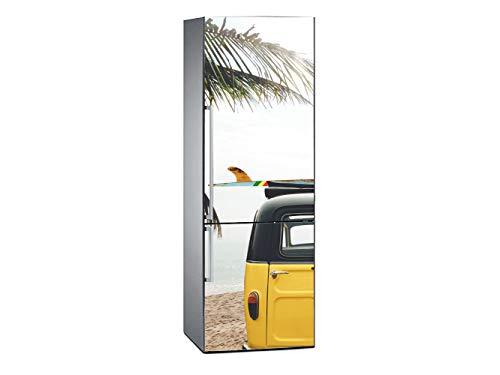 Oedim Vinilo para Frigorífico Furgoneta en Playa Tropical 185x70cm   Adhesivo Resistente y Económico   Pegatina Adhesiva Decorativa de Diseño Elegante