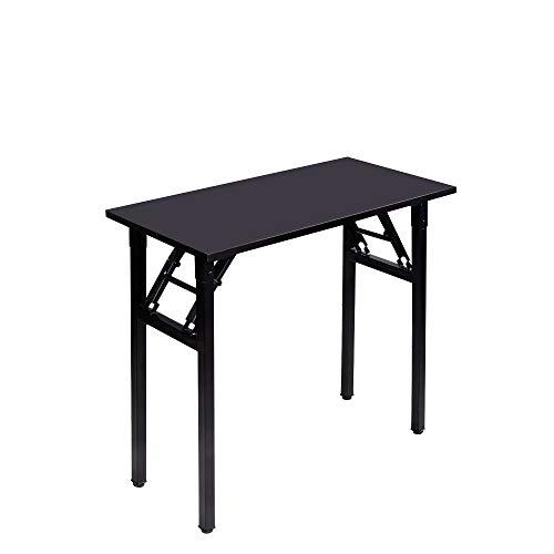 Need Kleiner Computertisch 80 cm Klapptisch Kein Aufbau Stabiler Kleiner Schreibtisch Klapptisch für kleine Räume, alles Schwarz AC5-8040-CB