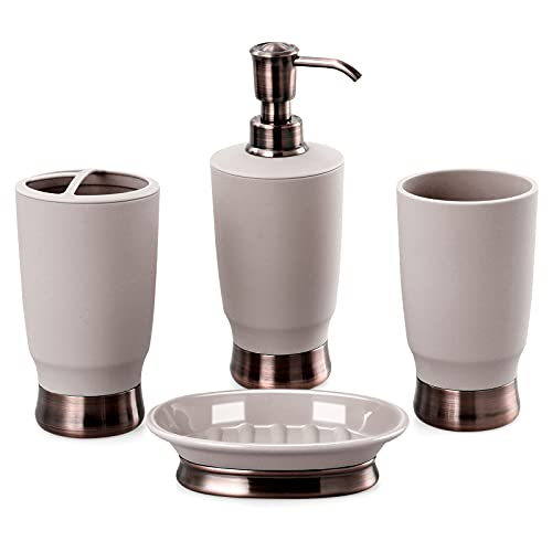 CLKjdz Luxury Bathroom Accessories Set, 4 PCS Electroplate Resin Material Fashion Bathroom Accessories Complete Sets Includes: Lotion Dispenser, Toothbrush Holder, Tumbler, and Soap Dish (Grey)