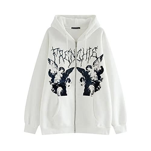 Sudaderas con capucha para las mujeres hombre Y2k estética Zip Up chaqueta de manga larga de los años 90 Gráfico de la capa de la pareja top Streetwear, blanco, S