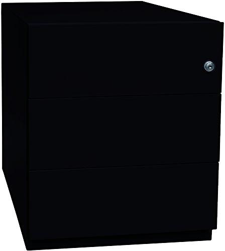 BISLEY Rollcontainer Note mit Griffleiste, 3 Universalschubladen, Metall, 633 Schwarz, 56.5 x 42 x 49.5 cm