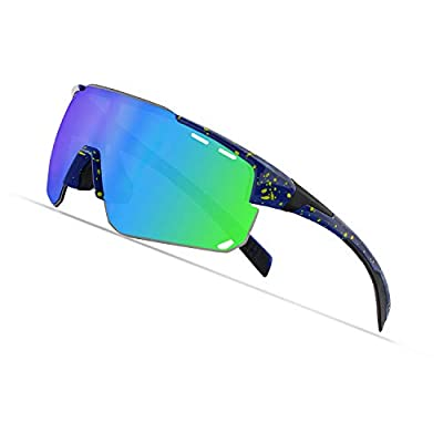 Cycling Sports Sunglasses,Polarized Glasses with 4 Interchangeable Lenses,Baseball Running Fishing Golf (Fluorescent yellow/Green)