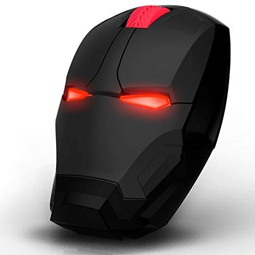 Iron Man Type Wireless Optical Mouse 2.4G Ergonomic Computer Mouse Wireless Portable Mobile Computer Click Silent Mouse Optical Mice with USB Receiver,3 Adjustable DPI Level for Notebook PC Mac Book …