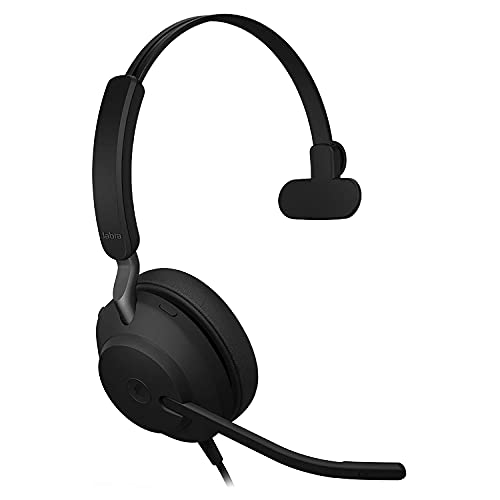 Jabra Evolve2 40 Mono Wired Headset - with Passive Noise Cancelling Headphones with USB-A Connection, Black, MS-Optimized (Renewed)