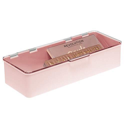 mDesign Aufbewahrungsbox mit Deckel für Make-up, Puder, Lippenstifte usw. – Kosmetik Organizer aus Kunststoff – Schminkaufbewahrung für Waschtisch, Regal oder Schublade – hellrosa und durchsichtig