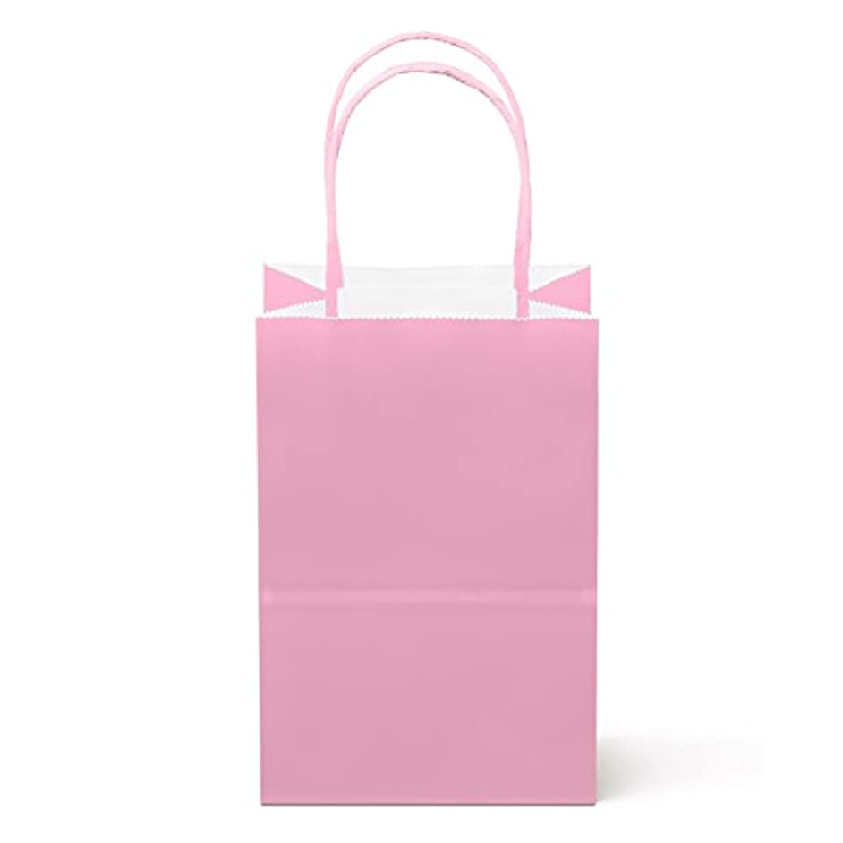 """24 Counts Food Safe Premium Paper and Ink Small 8.5"""" X 5.25"""", Vivid Colored Kraft Bag with Colored Sturdy Handle, Perfect for Goodie Favor DIY Bag, Environmentally Safe (Small, Light Pink)"""