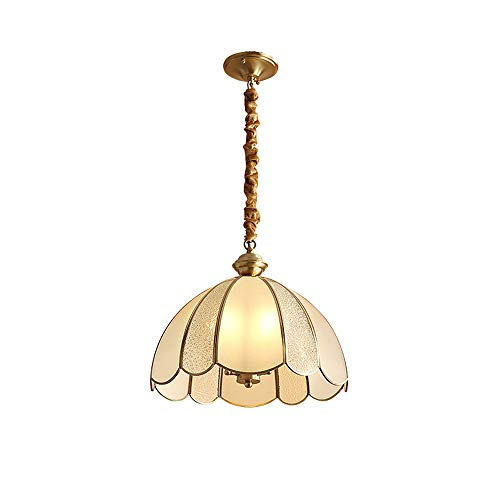 SDFDSSR American Country Chandelier Single Head Glass Droplight Toda La Flor De Cobre Lámpara Colgante Lámpara Colgante E14 (Altura 25cm) Adecuado para Entrada, Cafetería, Restaurante, Dormitorio