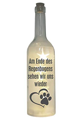 WB wohn trends LED-Flasche mit Motiv, Am Ende des Regenbogens. / Hund Katze, grau, 29cm, Flaschen-Licht Lampe mit Text Spruch Trauer