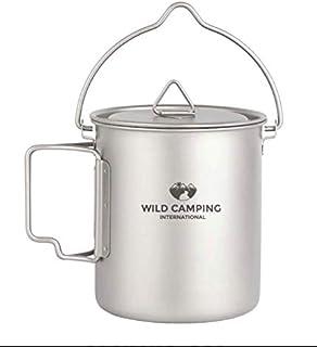 Taza de titanio para acampada al aire libre con bolsa de aislamiento Bestargot prensa francesa Titan Camping Vajilla de caf/é lata gran capacidad taza de caf/é al aire libre