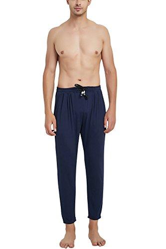 Dolamen Hombre Pantalones de Pijama Modal Algodón, 2018 Pantalones Boxeador Largo Casual Ropa de Dormir Cintura elástica Bolsillos Tiempo Libre Yoga Deportes (Medium, Azul)