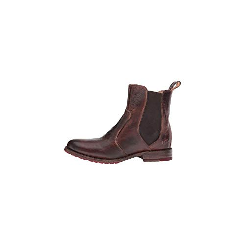Bed|Stu Nandi Women's Leather Short Boot - Pull On Chelsea Ankle Bootie - Teak Rustic - 7