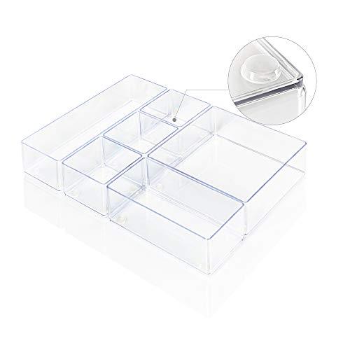Lilly Things® ANTIRUTSCH Schubladen Ordnungssystem (6er Set, transparent) Schubladen Organizer Schubladeneinsatz Tablett Aufbewahrungsbox für Make-Up Kosmetik Schminktisch Schreibtisch Büro Bad Küche