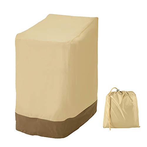 Maalr Funda para sillas de jardín apilables, cubierta para silla exterior jardín, lona impermeable cortavientos, anti UV, de tela Oxford 420D, resistente, 114 x 85 x 65 cm (Beige 420D)