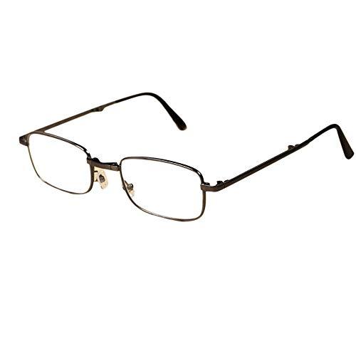 JKHOIUH Gafas de Lectura Plegables de Las Mujeres de los Hombres, Lentes de Cristal Natural HD Gafas Gafas Vintage Eclips solares Gafas (Color : Black/Plain Glasses)