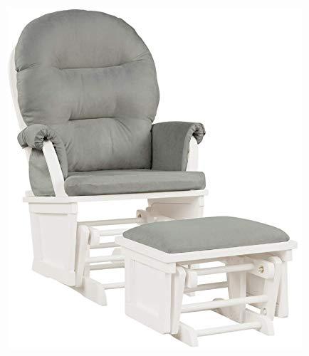 HomyDelight Living Room Furniture Set, Baby Nursery Relax Rocker Rocking Chair Set, Light Gray
