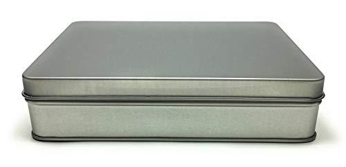 Balna 1 x Vorratsdose Metalldose eckig aus Weissblech mit Scharnierdeckel 15,6 x 12 x 3,5 cm Metallbox klein mit Deckel Keksdose Tabakdose Blechdose