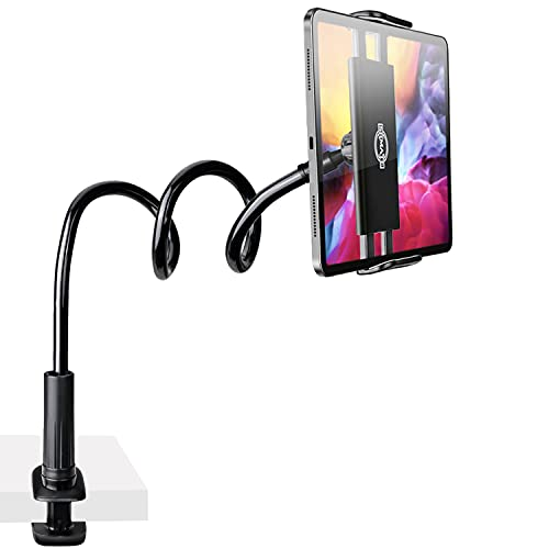 Gooseneck Tablet Phone Holder, SRMATE Tablet Stand with Flexible Long Arm Clamp Clip Mount for iPhone, iPad, Switch, Samsung Galaxy Tabs, Kindle Fire for Bed Desk, 30 in (Black)
