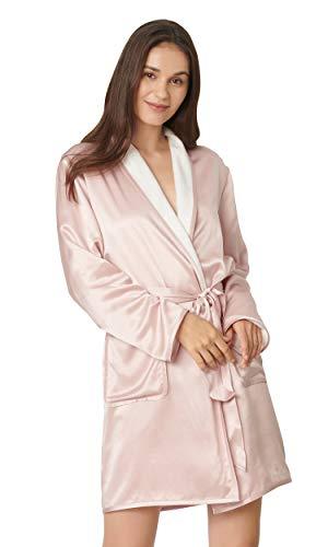 LilySilk Zweiseitiger Seide Morgenmantel Bademantel Hausmantel Damen Kurz aus Seide von 22 Momme L Verpackung MEHRWEG