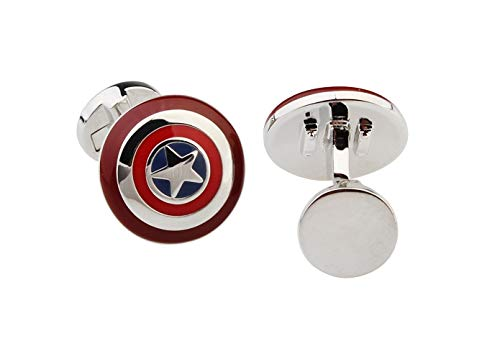 Gemelolandia | Gemelos de Camisa Escudo Capitán América mod 3 17x17mm Gemelos Originales Para Camisas | Para Hombres y Niños | Regalos Para Bodas, Comuniones, Bautizos y Otros Eventos