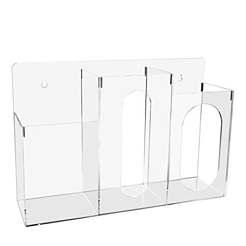 WAHFAY Acrylic Respiratory Station with 3 Compartment, Wall Mount or Tabletop Holder for Tissues, Gloves, Designed for Home Office School Use