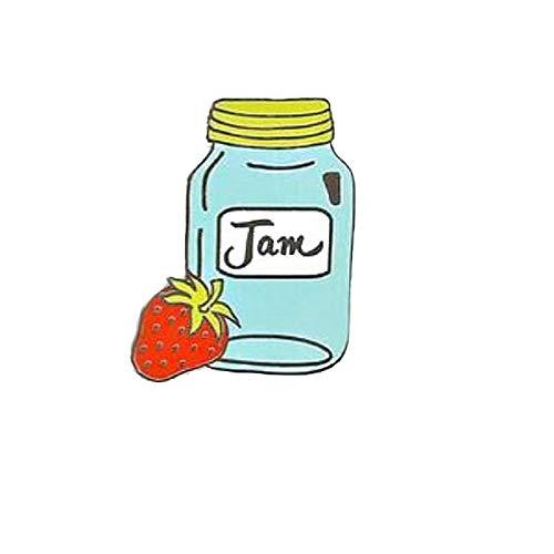 Erdbeermarmelade Brosche Mode Frauen Jeans Jacken Hut Zubehör Geschenk Cartoon Marmelade Glas Emaille Laple Pin Abzeichen Schmuck