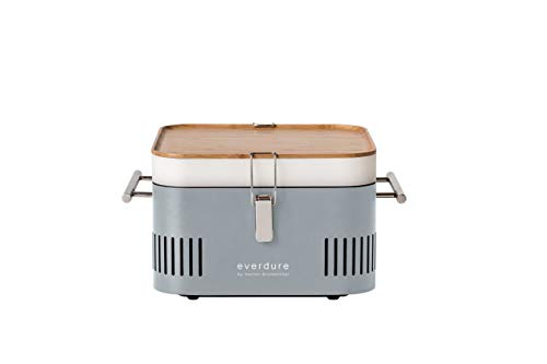 Everdure by Heston Blumenthal Cube Portable Charcoal Grill Perfect for Picnics, Tailgating, Beach, Camping or Tabletop Patio BBQ, Lightweight and Compact, Stone