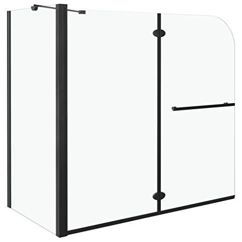 vidaXL Duschkabine Doppel Faltbar Duschabtrennung Duschwand Dusche Badewannenaufsatz Badewannenfaltwand für Badewanne ESG 120x68x130cm Schwarz