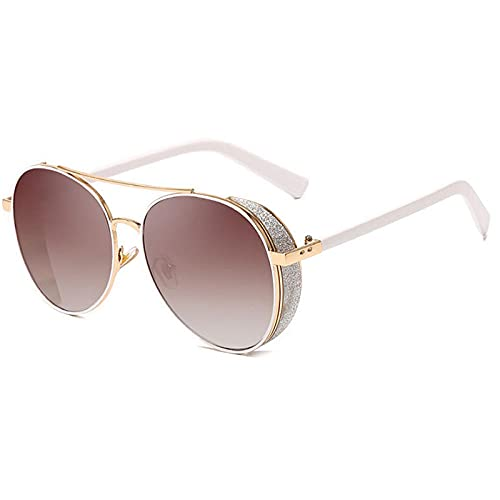 HPPSLT Al Aire Libre Rosa Espejo Redondo Diseño de Mujeres de Gafas de Sol SHINININININININININININININININININING MEMALE Hombres Té de Gafas de Sol De Moda (Color : Brown)