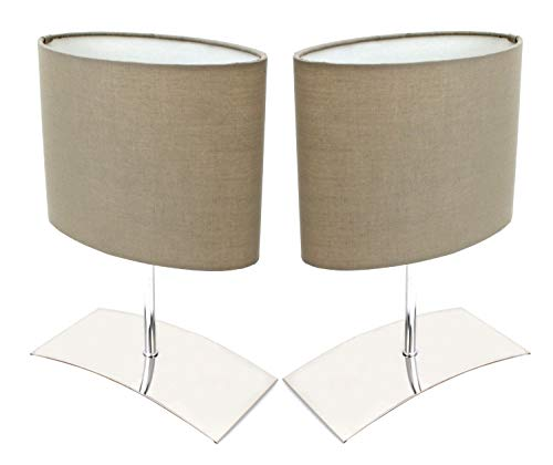 Trango 2 pacchi lampada da comodino, lampada da tavolo, lampada 2TG2018-04B'Brownie' con paralume in tessuto marrone - Lunghezza: 200mm - Larghezza: 100 - Altezza: 300mm