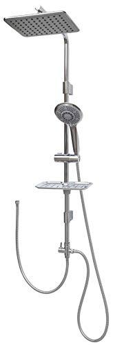 Duschset mit Überkopfbrause 100cm Duschstange Handbrause mit fünf Funktionen höhenverstellbare Wandhalterung in Chrom
