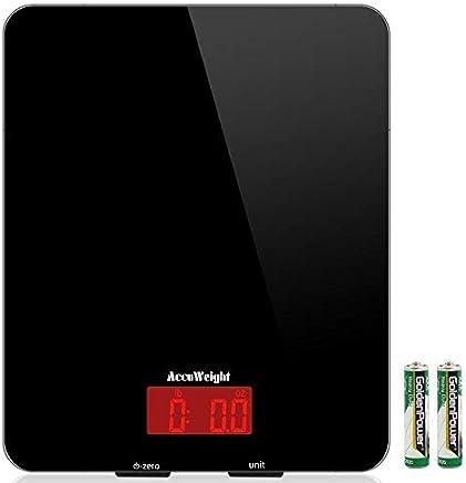 ACCUWEIGHT AW-KS001 Digitale Küchenwaage Electronische Waage, Professionelle Waage, aus Sicherheitsglas mit LCD Display, 5kg, schwarz, Inkl. Batterie