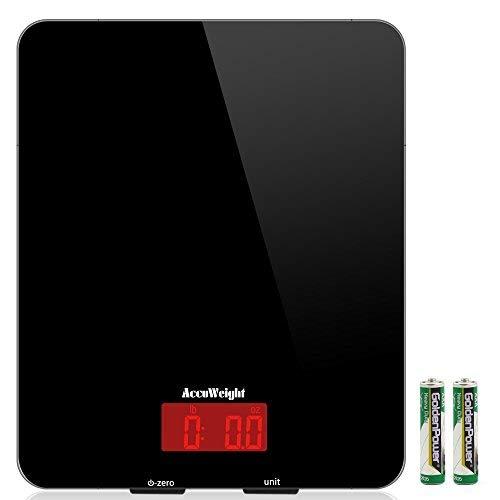 Accuweight Báscula Digital de Cocina Balanza de Alimentos Multifuncional Báscula Electrónica de Alta Precisión con Sin Costuras Diseño y Retroiluminación LCD Para Peso de Cocina, 5Kg/11 Lbs