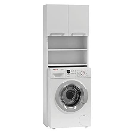 Hucoco COMO | Meuble pour Machine à Laver | 64x183x30cm | Rangement Espace buanderie Lave Linge Salle de Bains | Style Moderne | Blanc