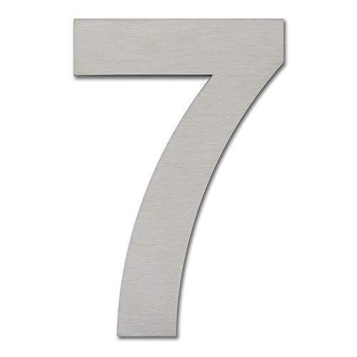 Hausnummer, gebürstet, modern, 152 mm hoch, aus massivem 304 Edelstahl, schwebende Optik und einfache Montage (Nummern 7 Sieben)