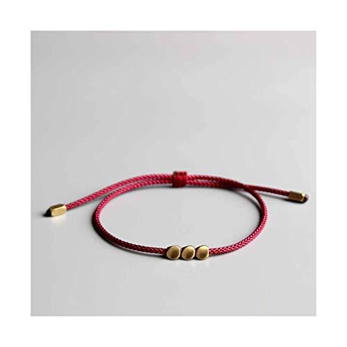 QMDSH - Pulsera hecha a mano con cuentas de cobre de la suerte, pulsera para mujer, hilo de cera para hombre, regalo único (color metálico: azul profundo)