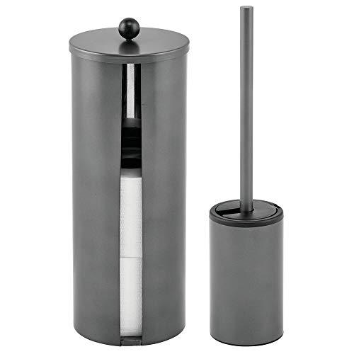 mDesign 2-teilige WC Garnitur – modernes Badzubehör mit Toilettenbürste und Rollenhalter aus gebürstetem Edelstahl – Toilettenpapierhalter für bis zu 3 extragroße WC-Papierrollen – graphitfarben