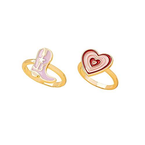 bvhg Y2K - Anillos coloridos para mujeres y adolescentes, con forma de corazón rosa grueso, con forma de estrella, joyas Y2K, anillos de esmalte con sello de oro, anillos estéticos apilables
