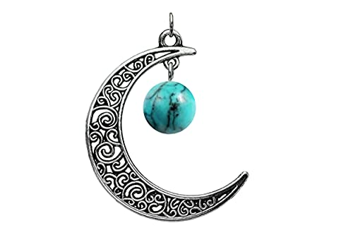 Turquoise Celtic Moon Pendant Silver, Copper, Gold, Bronze, Gunmetal, Black, Antique Brass, Rose Gold Crescent -or Earrings- Turquoise Stone