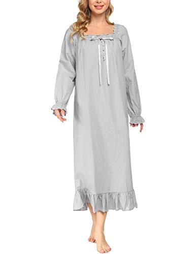 Avidlove Damen Nachthemd Lang Langarm Baumwolle Schlafanzug Viktorianisch Nachtkleid Nachtwäsche Vintage Nightdress Sleepwear Pyjama grau-lang M
