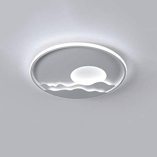LPFWSK Lámpara de techo circular con diseño de amanecer creativo Temperatura de color 3000K-6000K Luz LED ajustable Estilo cálido y romántico Lámpara de techo para dormitorio infantil Lámparas de deco